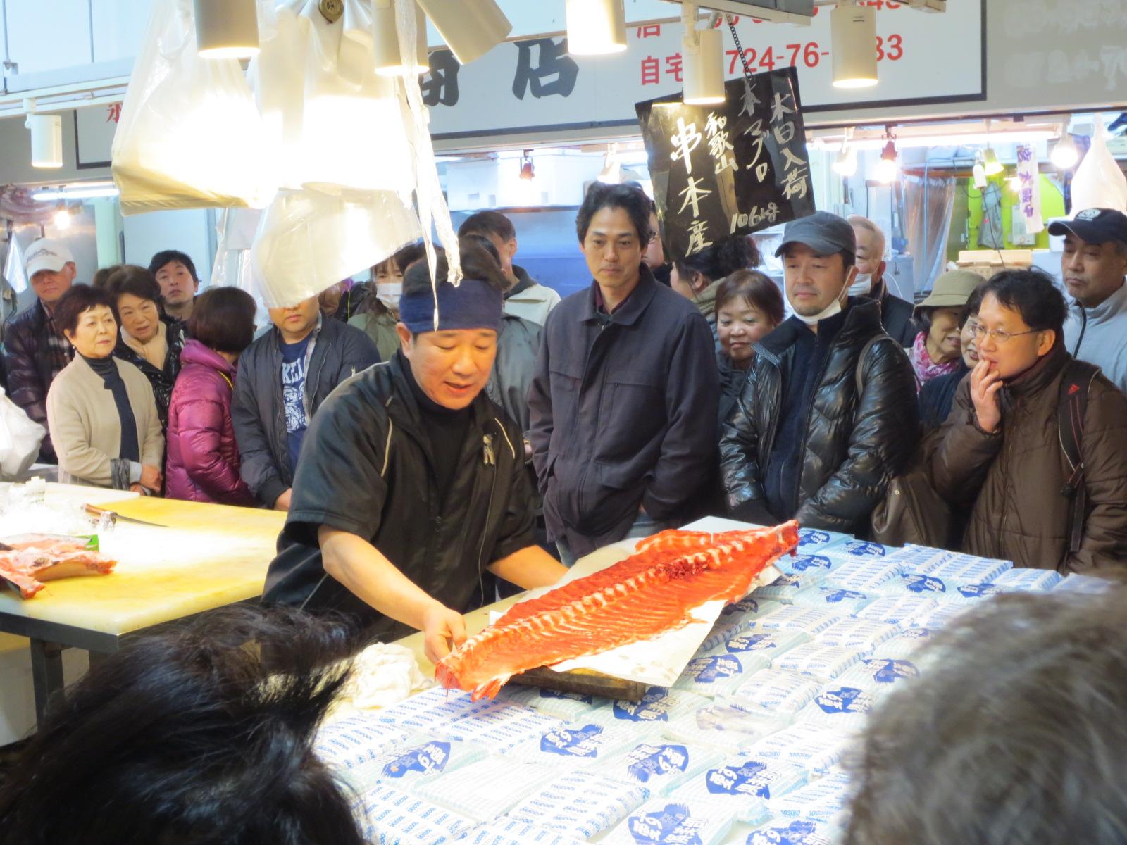 木津市場:マグロ中落ち